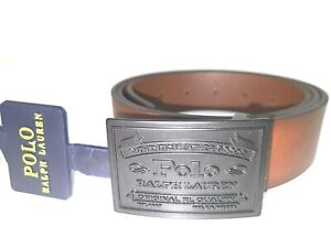 POLO RALPH LAUREN Brown Leather Belt Black Plaque Buckle Size 34 NWT