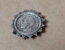 ANTIQUE STERLING SILVER BROOCH PIN WITH GEORGE V BRITISH 1916 SHILLING