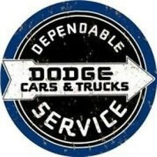 "DODGE CARS & TRUCKS DEPENDABLE SERVICE 12"" ROUND SIGN MAN CAR GARAGE CAR TRUCK"