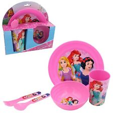 Character Kids 5 Piece Feeding Set Cup Bowl Plate Cutlery - Disney Princess
