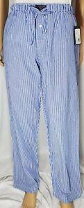 Polo Ralph Lauren Men's Pajamas Lounge Pants Sleepwear White/Blue Stripe L  $42