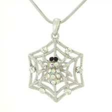 "Spider W Swarovski Crystal Web Cobweb Charm Gift 18"" Chain  Necklace"