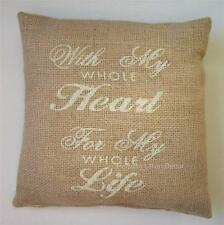 """With My Whole Heart For My Whole Life""  Stenciled Burlap Accent Pillow"