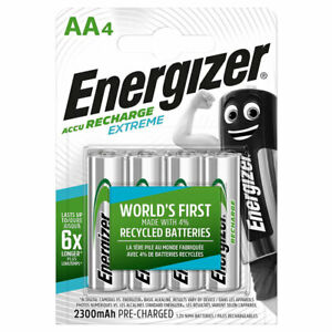 4 x Energizer Rechargeable AA batteries Accu Recharge Extreme NiMH 2300mAh HR6