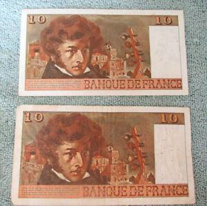 2 Banque De France 10 Francs notes Berlioz