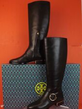 NIB TORY BURCH SOFIA BLACK BELTED BUCKLE LEATHER REVA TALL RIDING BOOTS 9.5