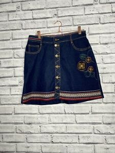 Joe Browns Blue Denim A Line Skirt Size 12 Quirky Embroidery