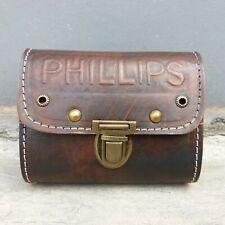PHILLIPS Small Tool Bag Logo Handmade Dark Brown Color
