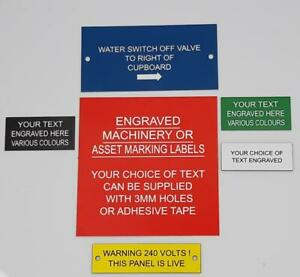 Asset  Marking or Machinery Labels- Many sizes, various colours, choice of text