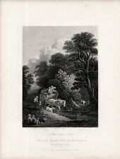Stampa antica CARRO DI CONTADINI verso il MERCATO da Gainsborough 1840 Old print