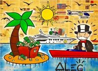 Alec Monopoly Print on Canvas graffiti art wall decor sale Money Island 28x36""