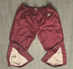 Running-Track Pants Maroon w/Button up Leg Opening