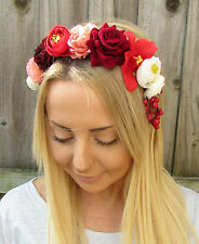 Red Peach Ivory Berry Rose Orchid Flower Garland Headband Hair Crown Floral 1929