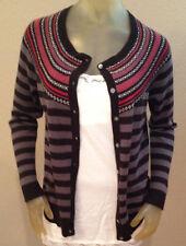 NWT Laura Scott Black Gray Red Striped NORDIC Sweater Cardigan Womens Small S