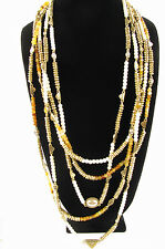NWT  Lucky Brand Gold-Tone Citrine Multi-Layers Beaded Necklace  $79