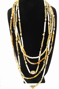 Lucky Brand Gold Tone Citrine Multi Layers Beaded Necklace $79
