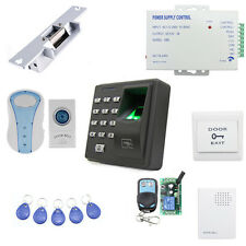 Fingerprint & RFID ID Card Reader Access Control System Kit W/ Strike Door Lock