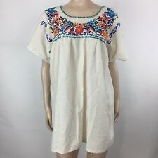 Vintage 70s Embroidered WOmen's Mexican Oaxacan Tunic Festival Dress White H3-24