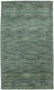 Contemporary Solid Hunter Green 3X5 Hand-Loomed Oriental Modern Rug Wool Carpet