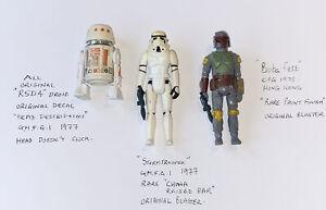 Vintage Star Wars Boba Fett & Stormtrooper & R5D4 Figures, Original Blasters.