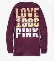 Victoria's Secret PINK Bling campus Long Sleeve Tee T-Shirt XS