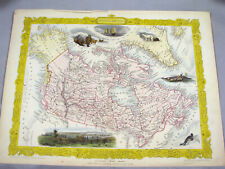ORIGINAL 1851 JOHN TALLIS MAP - BRITISH AMERICA CANADA - HAND COLORED