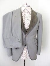 Vtg 70s gray velvet 4-Pc tuxedo prom suit vest ruffle shirt pants jacket 40R