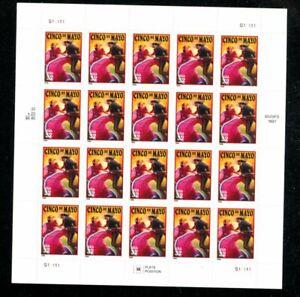 US 3203, 1998 32c CINCO DE MAYO, $6.40 PANE OF 20, P#S11111, MNH (US624)