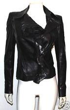 Yves Saint Laurent brown leather ruffle jacket 36 YSL