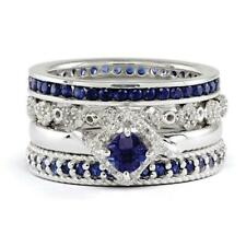 925 Sterling Silver Sapphire 4.25 Carat & Cubic Zirconia Paradise Stack Ring Set