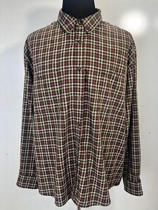 Woolrich Mens Shirt XXL Plaid Long Sleeve Button Front Brown