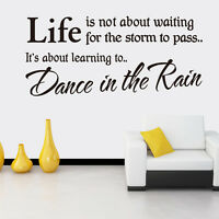 Vinyl Wall Decal Removable Quote Lettering Dance In The Rain Home Mural Decor