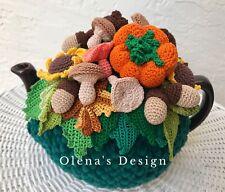 Crochet tea cozy green cover pumpkin mushroom pine cone acorn sunflower autumn