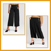 NEW * WHO WHAT WEAR Wide Leg CROP PANTS Black Crepe SAILOR STYLE Sz 16 to 24W