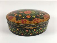 Black Lacquered Hand Painted Floral Design Trinket Keepsake Box Oval