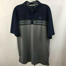 Travis Mathew Men's L Navy Gray Stretch Polyester Active Golf Polo Shirt