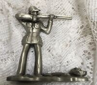 Vintage Miniature Hunter With Gun Pewter Shadow Box Trinket