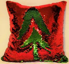 """Very High Quality Red & Green Sequined """"Flip"""" Pillows - 17 X 17 - New with Tags"""