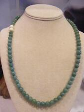 "Antique Chinese Green JADE / Jadeite Beaded NECKLACE 22"" Oriental ASIAN"
