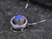 Silberkette mit Anhänger Mondstein Kugel Kreis Rund Zirkonia Mit stein