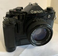 Canon A-1 35mm SLR Film Camera lens and Power Winder MA UNTESTED