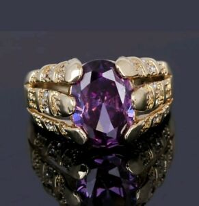 Gorgeous SIZE 11 Purple Amethyst 18K Yellow Gold Filled Ring