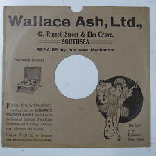 """78rpm 10"""" card gramophone record sleeve / cover WALLACE ASH , SOUTHSEA"""