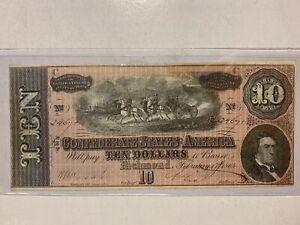 1864 Confederate Currency CSA Richmond Ten Dollar $10 Note Civil War Issue