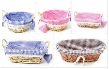 Gingham Cloth Lined Wicker Basket Hamper Gift Basket Round Rectangular Oval
