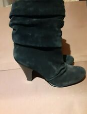 Jessica Simpson Black Suede Slouchy Midi Mid Calf Heeled Ankle Boot 7