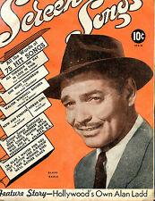 Vintage Screen Songs Magazine Clark Gable Alan Ladd VG 071316jhe