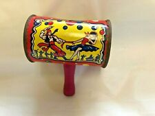 Vintage Kirchhofer Noisemaker / Life of the Party / Litho Wooden Handle Clown