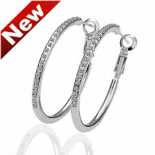 """Awesome New Silver Plated Crystal CZ Large 2"""" Round Hoop Earrings"""
