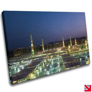PROPHETS MOSQUE MEDINA ISLAMIC CANVAS Wall Art Picture Print A4